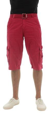 Moda Essentials Men's Jetlag Cargo Shorts Belted Red Size 34