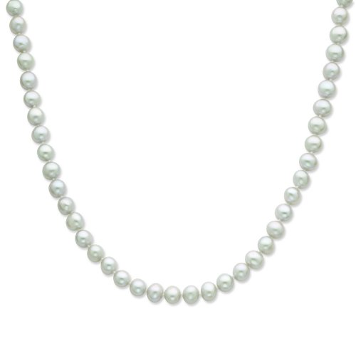 Silver 7-8mm Grey Freshwater Cultured Pearl Necklace. 18in long Necklace.