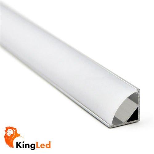 KingLed - Profilo in Alluminio Angolare da 1 Metro per Strisce LED, Modello 1616 Rotondo, con Copertura in Plexiglass Opaco, Con Tappi e Ganci per il Montaggio, Angolo di Luce 45°, per Strip con Larghezza 8-10 Millimetri, cod. 1899