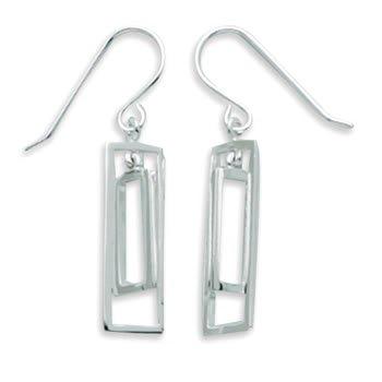Double Cut Out Rectangle Dangle Earrings
