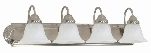 Nuvo Lighting 60/322 Ballerina 4-Light 30-Inch Vanity Light with Alabaster Glass Shades, Brushed Nickel