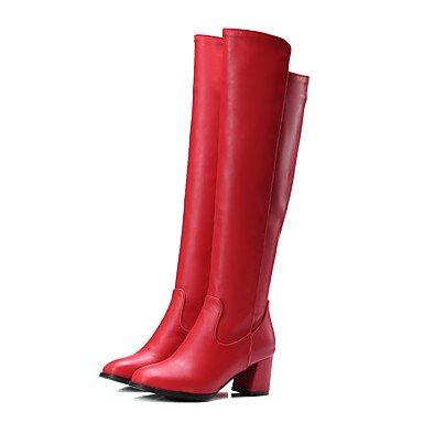 gnmb-mujer-tacon-robusto-botas-a-la-moda-botas-oficina-y-trabajo-casual-semicuero-negro-rojo-blanco-