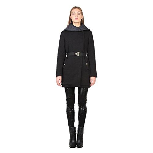Versace Jeans - Cappotto con cintura a fibbia - Donna (42 IT) (Nero)