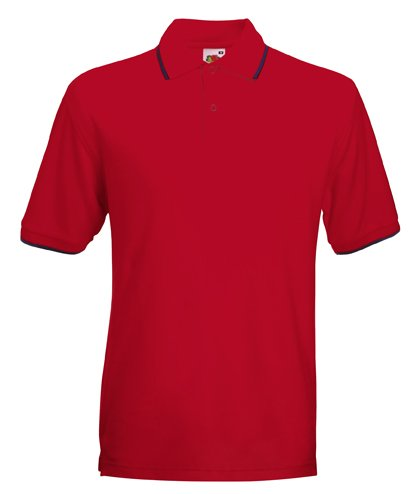 Fruit of the Loom Tipped Polo in Red/navy Size L