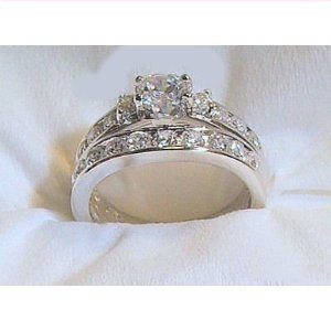 14k White Gold .925 Engagement Wedding Ring Set