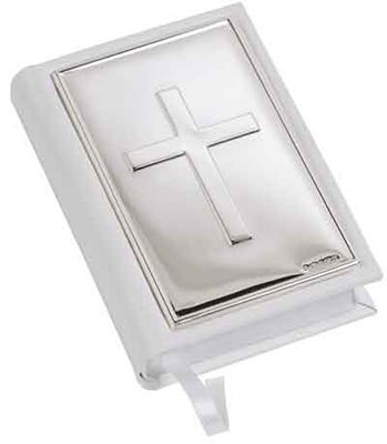 White Leather Gem Bible with Sterling Silver Cross Front Cover