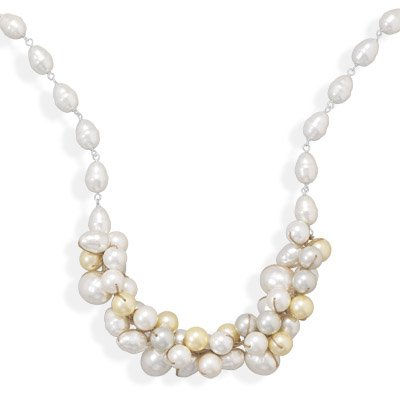 Cluster Pearl Necklace White, Silver, and Yellow 10mm to 20mm Sterling Silver Adjustable Length