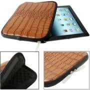 Crocodile Texture Leather Zipper Bag for iPad 4 / New iPad (iPad 3) / iPad 2, Size: 28x21x2cm (Coffee)
