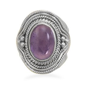 Sterling Silver Amethyst Ring with Rope and Bead Design / Size 6