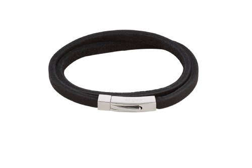Alraune Clyde 102479 Unisex Bracelet Black Leather 2 Strands Stainless Steel Clasp 42 cm