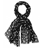 M&S Collection Lightweight Folk Bird Print Scarf