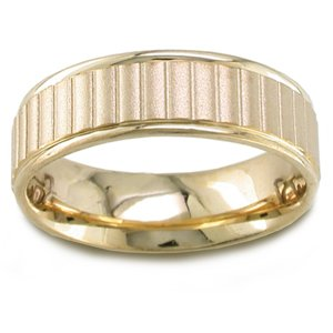 Women's 14k Yellow Gold Sandblasted Ribbed Comfort-Fit Wedding Band (6.50 mm)