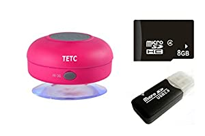 Wireless Mini Waterproof Bluetooth Suction Shower Car Handsfree Mic Speaker (Hot pink) by TETC