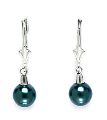 14K White Gold Tahitian Look 7Mm Crystal Pearl Ball Swarovski Element Earrings - Measures 27X7Mm