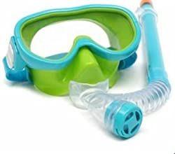 Children Profesionasl Silicone Diving Goggles Set Glasses Mask Swimming Diving Snorkel Breathing Tub (Sky Blue)