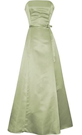 50s Strapless Satin Long Gown Bridesmaid Prom Dress Formal Junior Plus Size, Large, Sage