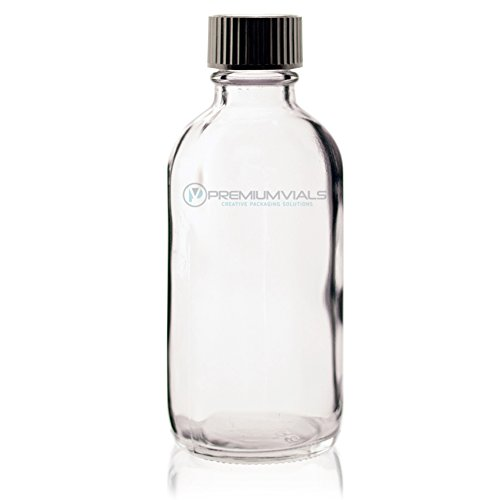 4 Oz (120 ml) CLEAR Boston Round Glass Bottle w/ Cap - Pack of 6 (4 Ounce Glass Bottles compare prices)