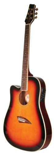 Kona K2LTSB Left-Handed Acoustic Electric Dreadnought Cutaway Guitar in Tobacco Sunburst Finish
