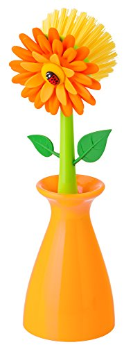 Vigar Flower Power Orange Dish Brush with Vase, 10-Inches, Orange, Green (Flower Kitchen compare prices)