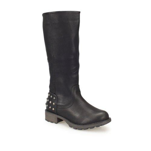 Damen Langschaftstiefel - Winterstiefel mit Kupfernieten im Fersenbereich schwarz 37