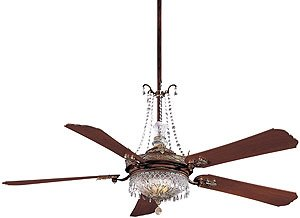 "Vintage Ceiling Fans. Cristafano 68"" Deluxe Crystal Ceiling Fan With Dark Walnut Blades"