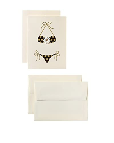 S.E. Hagarman Set of 2 Black and Gold Polka Dot Bikini Cards, Ivory