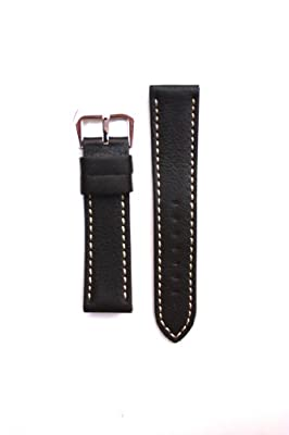 20mm Heavy Black Sport Calfskin with Heavy Contrast Stitch and Panerai Style S/S Buckle