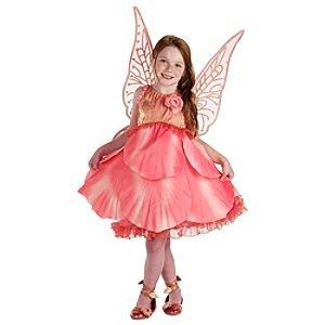 Disney Store Tinkerbell Fairies Rosetta Deluxe Costume Rose Pink Flower Faires Medium M 7 8