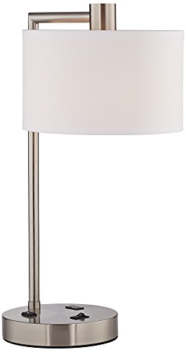 Colby Brushed Nickel Desk Lamp With Outlet And Usb Port