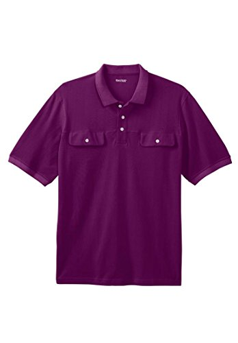 Kingsize men 39 s big tall double pocket pique polo shirt for Big and tall polo shirts with pockets