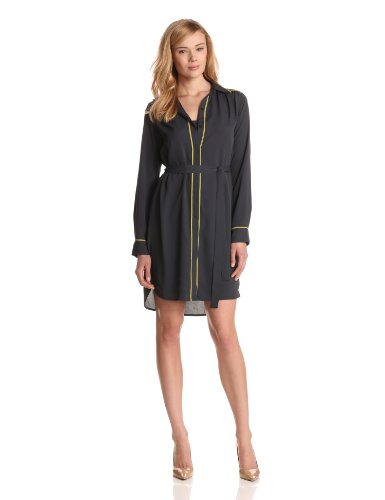 Kenneth Cole Women's Long Sleeve Shirt Dress with Piping, Blue Ribbon/Citron, X-Large