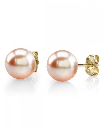 10-11mm Peach Freshwater Pearl Stud Earrings in 14K Gold - AAAA Quality