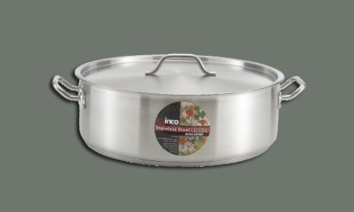 Winco SSLB-30, 30-Quart Stainless Steel Brazier Pan With Lid, Cooking Pan with Cover
