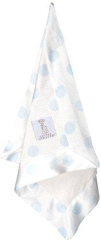 Little Giraffe Luxe Cream Dot Blanky, Blue