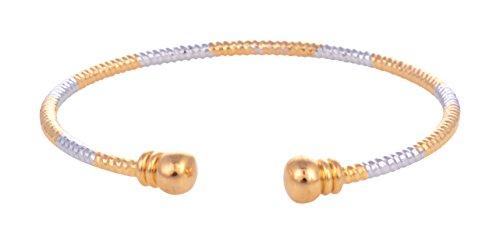 Ketan Jewellers Designer Openable Free Size Dual Tone Gold And Silver Shade Thin Cuff Kada Bangle For Women &... - B01K9OMO28