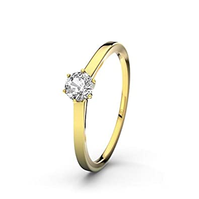 Amalfi 21DIAMONDS Women's Ring Engagement Ring Round Brilliant Cut White Topaz 9ct Yellow Gold Engagement Ring