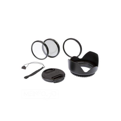 6-teiliges Delamax 58mm Zubehör-SET für Canon PowerShot SX30 IS - UV-Filter, Polfilter, Adapter-Tubus, Objektivdeckel, Halteband, Sonnenblende