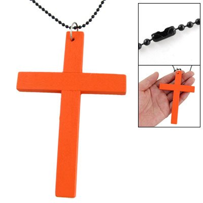 Rosallini Orange Wood Latin Cross Pendant Necklace Clothing Decor