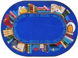 "Joy Carpets Kid Essentials Language & Literacy Oval Read to Succeed Rug, Multicolored, 5'4"" x 7'8"""