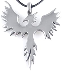 Phoenix Bird Firebird Pewter Pendant Necklace