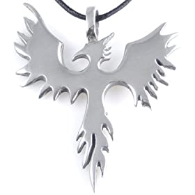 phoenix fire bird silver tone pewter pendant necklace