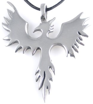 PHOENIX Bird Firebird Silver Tone PEWTER PENDANT Necklace