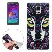 Aztec Tribal Wolf Pattern Ultra-thin Transparent TPU Protective Case for Samsung Galaxy Note 4 / N910