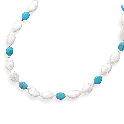 16 Inch 14k Yellow Gold Turquoise & Marquise Shape Cultured Freshwater Pearl Necklace