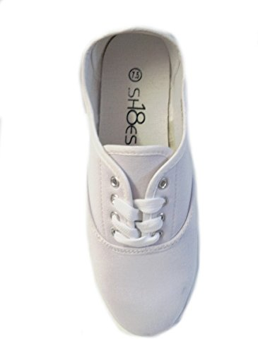 Shoes 18 Womens Canvas Shoes Lace up Sneakers 18 Colors Available (5 B(M) US, White 324)
