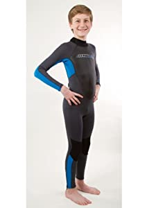O'Neill Youth Reactor 3/2 Full Wetsuit, Graphite/Bright Blue/Graphite, 6