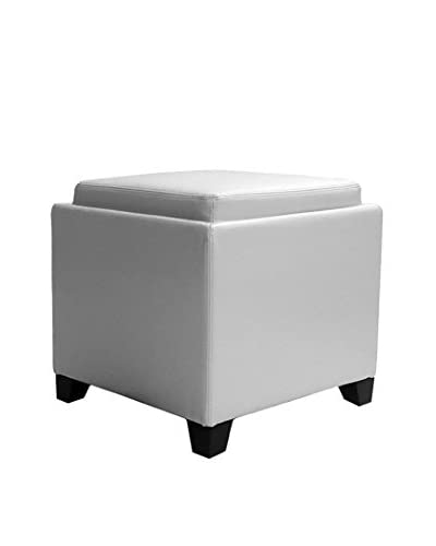 Armen Living Contemporary Storage Ottoman with Tray, White