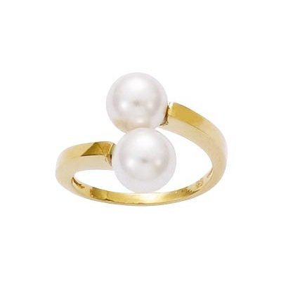 18K Gold Plated 2 White Pearls