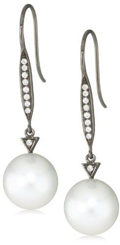 TARA Pearls White South Sea 10x11m Black Rhodium Pearl Earrings