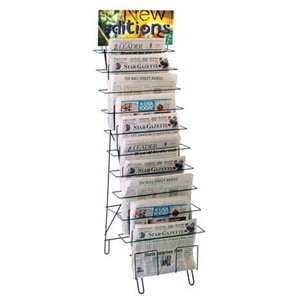 1 Newspaper Easel Wire 10 Compart Blk O Cd Or Dvd Disc Media Storage